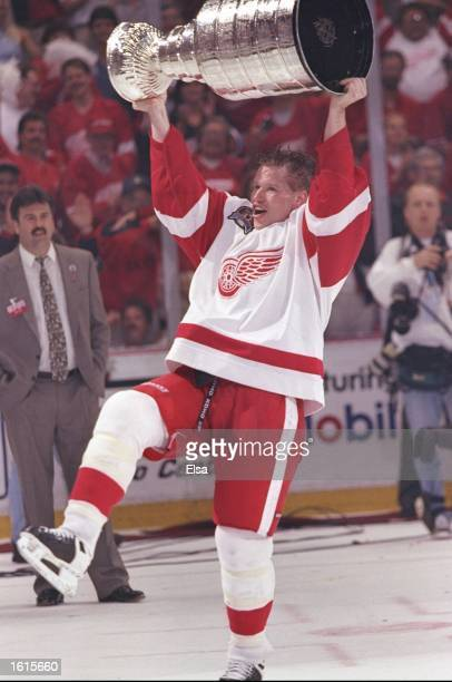 Detroit Red Wings defenseman Larry Murphy skates with the Stanley Cup at the Joe Louis Arena in Detroit Michigan The Red Wings won the game 21...