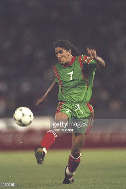 El Moustafa Hadji of Morocco in action during the World Cup qualifying match against Ghana at the Complexe Sportif Mohamme in Casablanca Morocco...