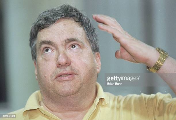 General manager Jerry Krause of the Chicago Bulls speaks to reporters during a press conference before a playoff game against the Utah Jazz at the...