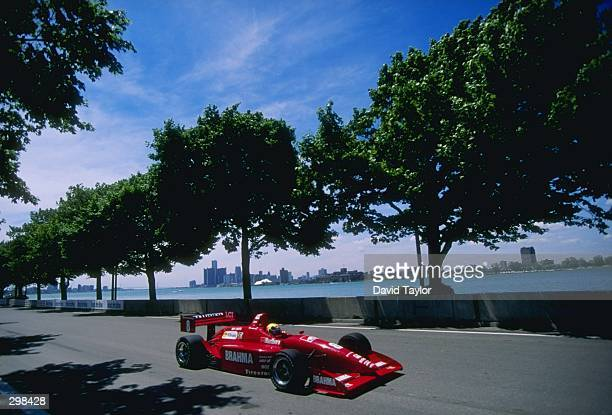 Helio Castroneves of Brazil in the Lola Buick T97/20 for the Tasman Motorsports Racing Team during the ITT Automotive Detroit Grand Prix at Bell Isle...
