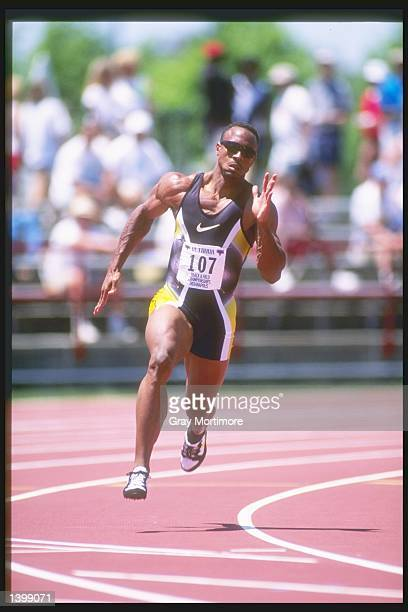 Jonathan Drummond runs around the track during the 200 meter dash at the US Outdoor Track and Field Championships in Indianapolis Indiana Mandatory...