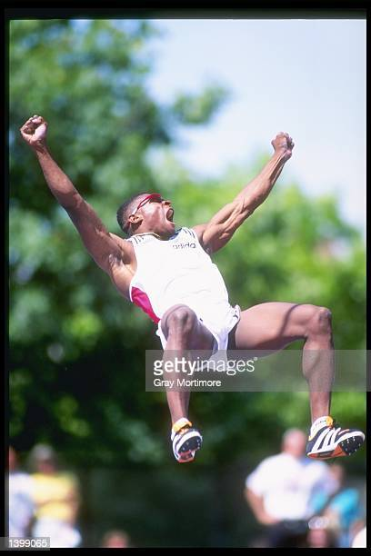 Lawrence Johnson celebrates after clearing the pole during the pole vault competition at the US Outdoor Track and Field Championships in Indianapolis...