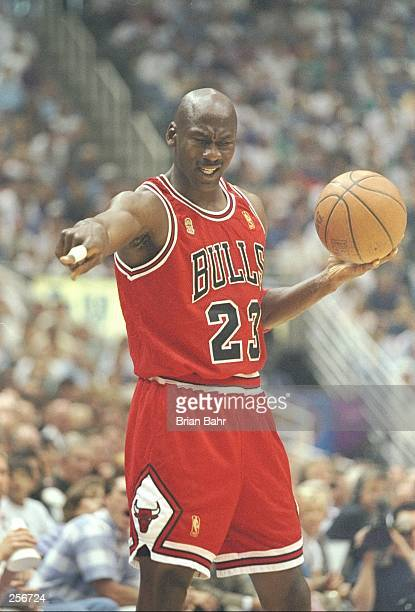 Michael Jordan of the Chicago Bulls during the Bulls 90-88 win over the Utah Jazz in Game 5 of the NBA Finals at the Delta Center in Salt Lake City,...
