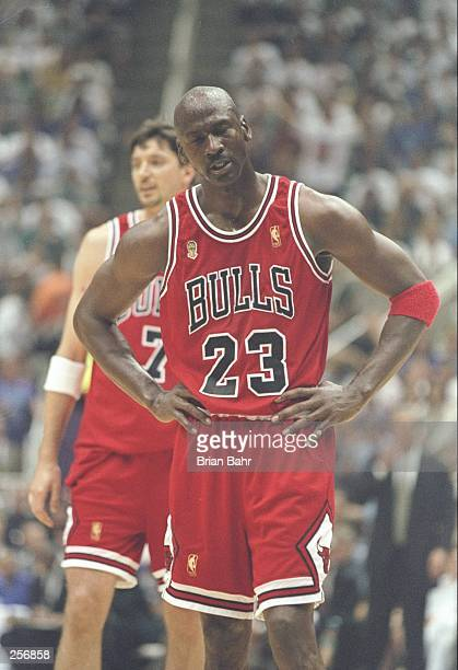 Michael Jordan of the Chicago Bulls during the Bulls 9088 win over the Utah Jazz in Game 5 of the NBA Finals at the Delta Center in Salt Lake City...