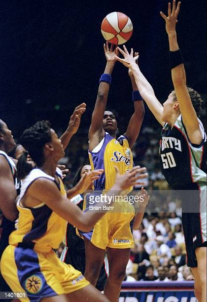 Penny Toler of the Los Angeles Sparks in action during a game against the New York Liberty at the Great Western Forum in Inglewood California The...