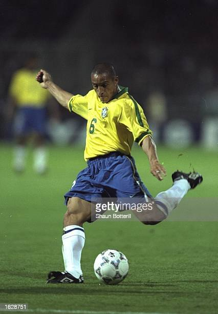 Roberto Carlos of Brazil in action during the Tournoi de France match against France in Lyon France The match ended in a 11 draw Mandatory Credit...