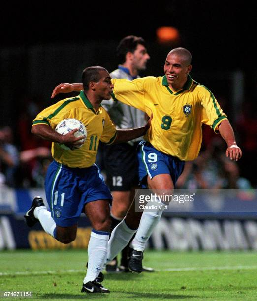 Ronaldo and Romario of Brazil celebrate during the match in the Tournoi De France in Lyon France