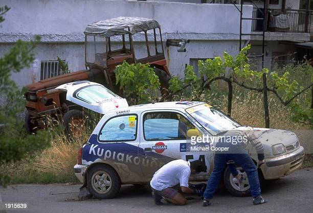 Sotiris Skaltas has a puncture on his Nissan Micra in the Acropolis Rally during the FIA World Rally Championships in Athens Greece Mandatory Credit...