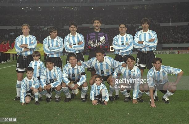 The Argentina team group before the World Cup Qualifier against Peru at the River Plate Stadium in Buenos Aires Argentina Argentina won the match 20...