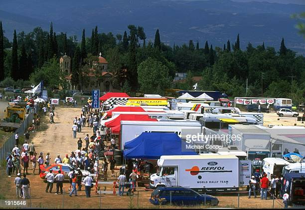 The set up of the Acropolis Rally service area during the FIA World Rally Championships in Athens Greece Mandatory Credit Mike Cooper /Allsport