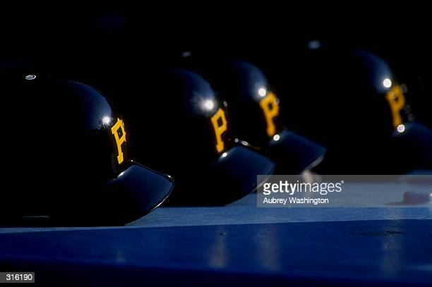 A general view of Pittsburgh Pirates helmets during a game against the Los Angeles Dodgers at Dodger Stadium in Los Angeles California The Dodgers...