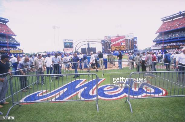 A general view of the Mets logo from inside Shea Stadium in Flushing New York during an interleague game between the the New York Mets and the New...