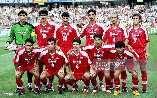 A group photograph of the Iranian team before the World Cup first round match against the USA at the Stade Gerland in Lyon France Iran won the match...