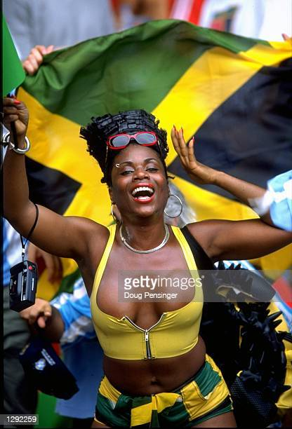 A Jamaica fan shows her support during the World Cup group H game against Argentina at the Parc des Princes in Paris Jamaica lost 50 Mandatory Credit...