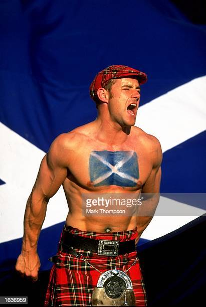 A Scotland fan shows his support during the World Cup group A game against Norway at the Parc Lescure in Bordeaux France The match ended 11 Mandatory...