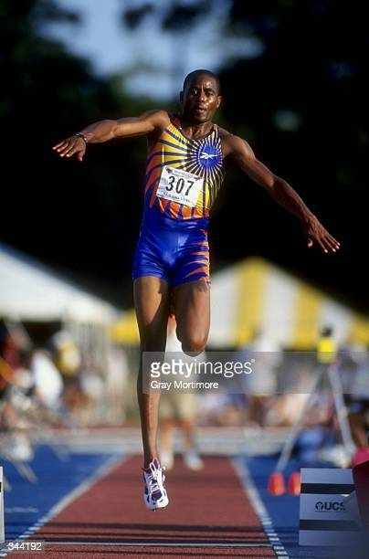 Antoine Howard jumps during the Men''s Triple Jump during the US Track Field Championships at the Tad Gormley Stadium in New Orleans Louisiana...
