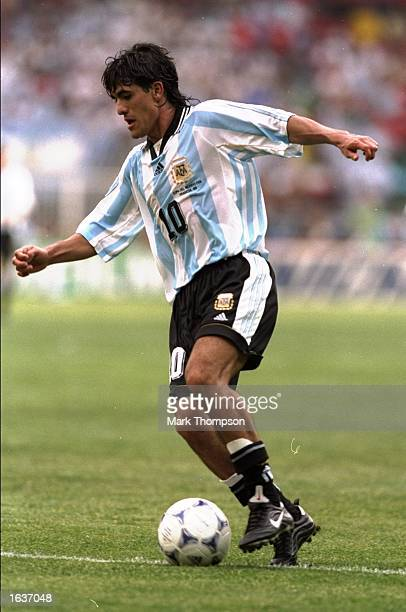 Ariel Ortega of Argentina on the ball during the World Cup group H game against Japan at the Stade Municipal in Toulouse France Argentina won 10...
