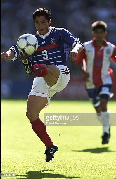 Bixente Lizarazu of France controls the ball during the World Cup second round match against Paraguay at the Stade Felix Bollaert in Lens France...