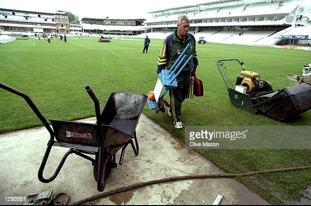 Bob Woolmer of South Africa navigates through the building work during a net session before the Second Test match against England at Lord's in London...