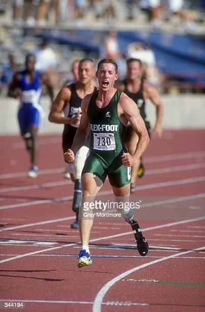 Brian Frasure runs in the Men''s 100m Dash Special during the US Track Field Championships at the Tad Gormley Stadium in New Orleans Louisiana...