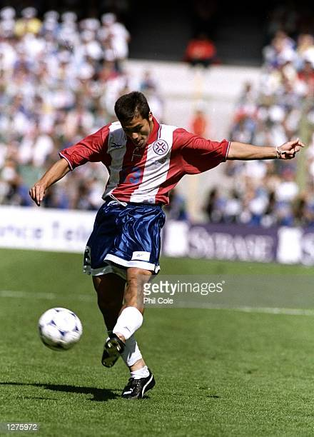 Carlos Paredes of Paraguay in action during the World Cup second round match against France at the Felix Bollaert Stadium in Lens France France won...