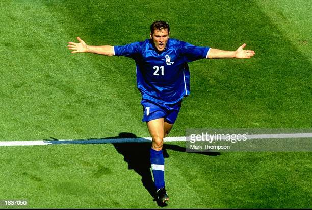 Christian Vieri of Italy celebrates after scoring in the World Cup second round match against Norway at the Stade Velodrome in Marseille France Italy...