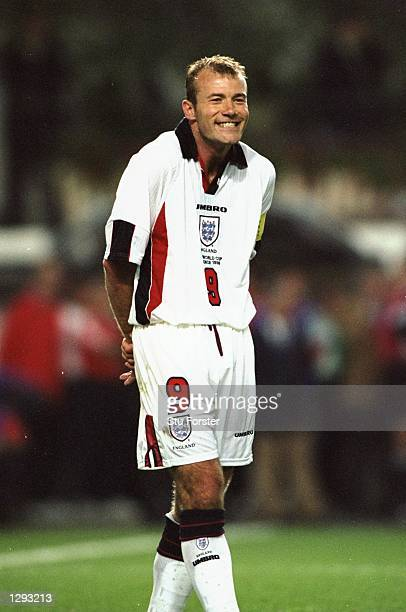 England captain Alan Shearer sees the funny side against Argentina during the World Cup second round match at the Stade Geoffroy Guichard in St...