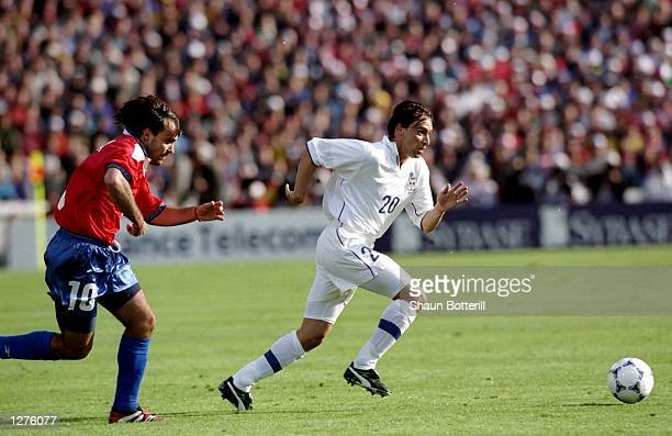 Enrico Chiesa of Italy in action during the World Cup first round match against Chile at the Parc Lescure in Bordeaux France The match ended in a 22...