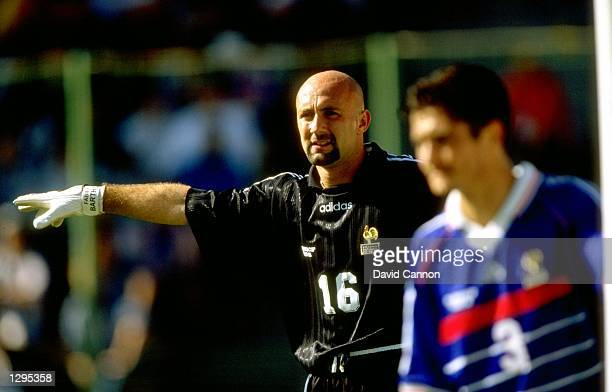 Fabien Barthez of France points some orders to his teammates during the match between France v Paraguay in the 1998 World Cup played in Lens France...