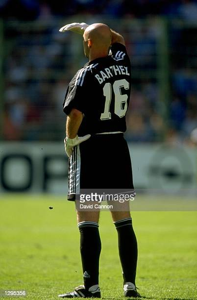 Fabien Barthez of France watches the action during the match between France v Paraguay in the 1998 World Cup played in Lens France Mandatory Credit...