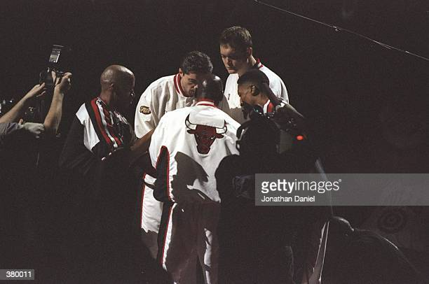 General view of the Chicago Bulls starters Ron Harper Toni Kukoc Luc Longley Scottie Pippen and Michael Jordan during the NBA Finals Game 4 against...
