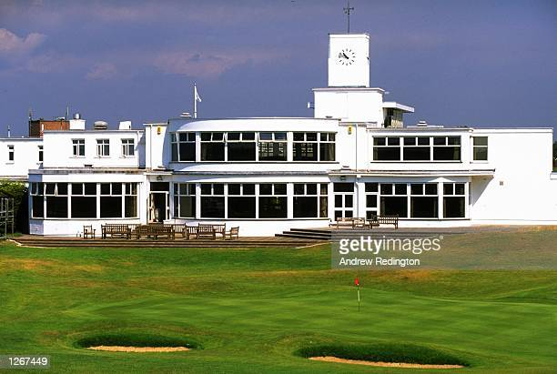 General view of the clubhouse overlooking the 479 yard par 4 18th hole at Royal Birkdale Golf Club in Lancashire England Mandatory Credit Andrew...