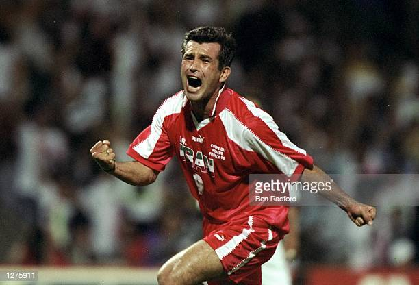 Hamid Estili of Iran in action during the World Cup first round match against the USA at the Stade Gerland in Lyon, France. Iran won the match 2-1. \...