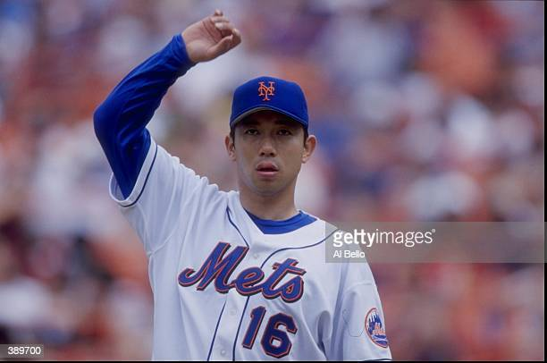 Hideo Nomo of the NY Mets in action during a game against the Florida Marlins at Shea Stadium in Flushing, New York. The Mets defeated the Marlins...