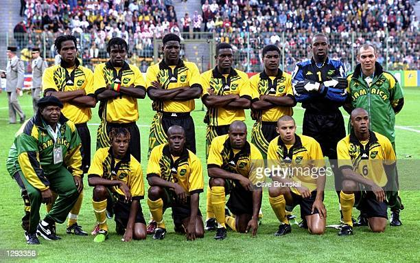 Jamaica line up before the World Cup group H game against Croatia at the Stade Felix Bollaert in Lens France Jamaica lost 31 Mandatory Credit Clive...