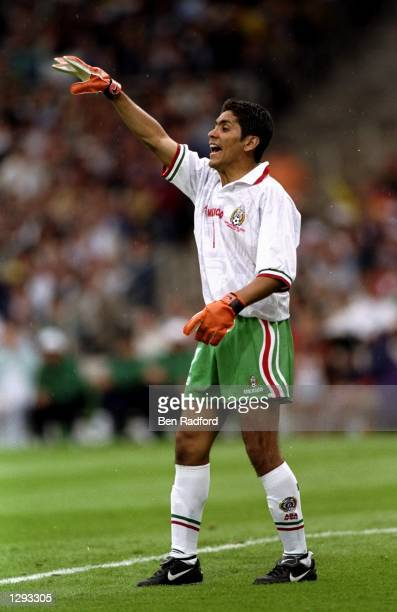 Jorge Campos of Mexico marshalls his defence during the World Cup group E game against South Korea at the Stade Gerland in Lyon, France. Mexico won...