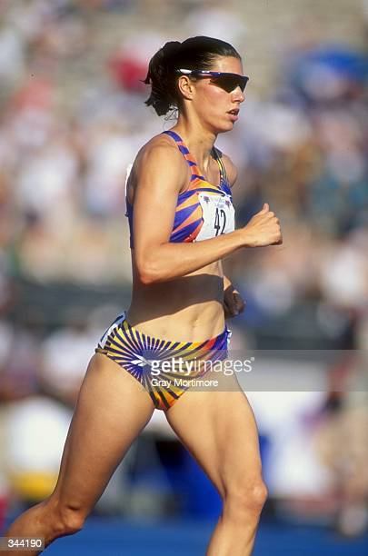 Kelly Blair Labounty runs in the Women''s Heptathlon during the US Track Field Championships at the Tad Gormley Stadium in New Orleans Louisiana...