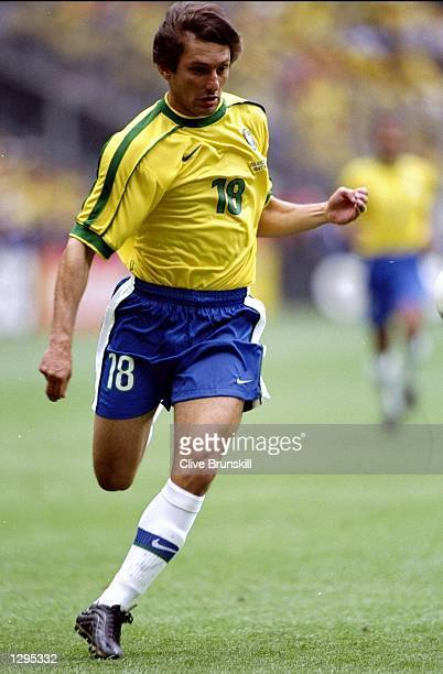 Leonardo of Brazil in action during the match between Brazil v Scotland in the 1998 World Cup played in St Denis France Mandatory Credit Clive...