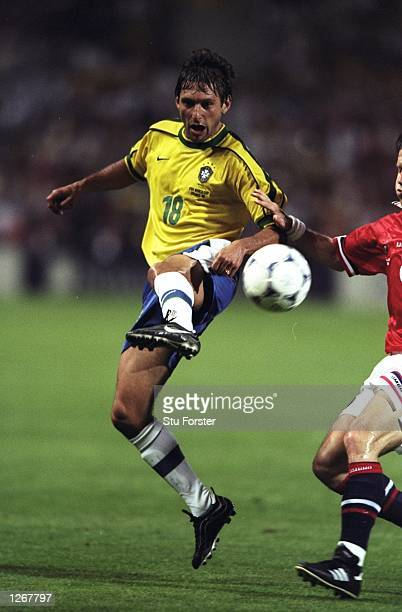 Leonardo of Brazil in action during the World Cup group A game against Norway at the Stade Velodrome in Marseille France Mandatory Credit Stu Forster...