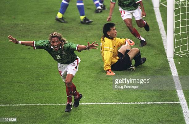Luis Hernandez of Mexico celebrates after scoring in the World Cup group E game against South Korea at the Stade Gerland in Lyon, France. Hernandez...