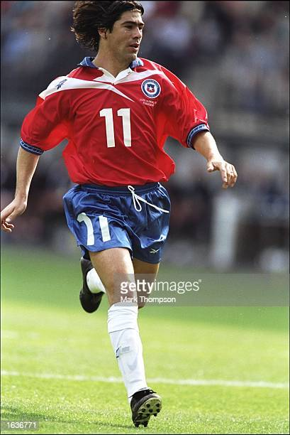 Marcelo Salas of Chile makes a run during the World Cup group B game against Italy at the Stade Geoffroy Guichard in St Etienne France Mandatory...