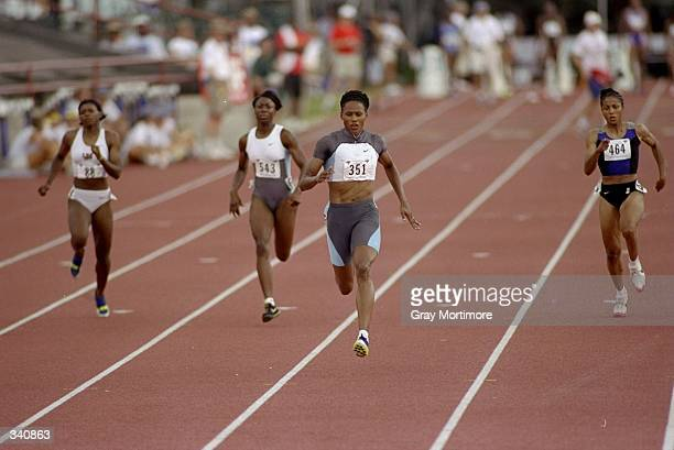 Marion Jones runs in the Women''s 200m during the US Track Field Championships at the Tad Gormley Stadium in New Orleans Louisiana Jones finished...