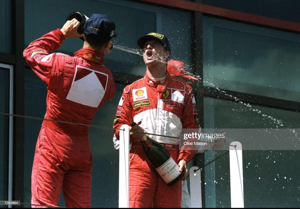 Michael Schumacher and Eddie Irvine : News Photo