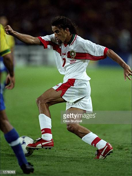 Mustafa El Hadji of Morocco in action during the World Cup first round match against Brazil at the Stade de la Beaujoire in Nantes France Brazil won...
