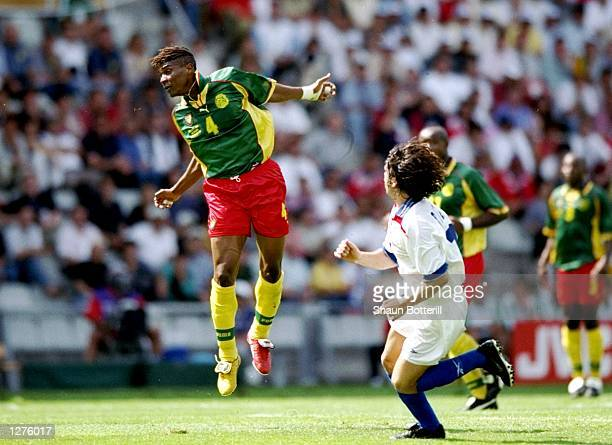 Rigobert Song of Cameroon in action during the World Cup first round match against Chile at the Stade de la Beaujoire in Nantes France The match...