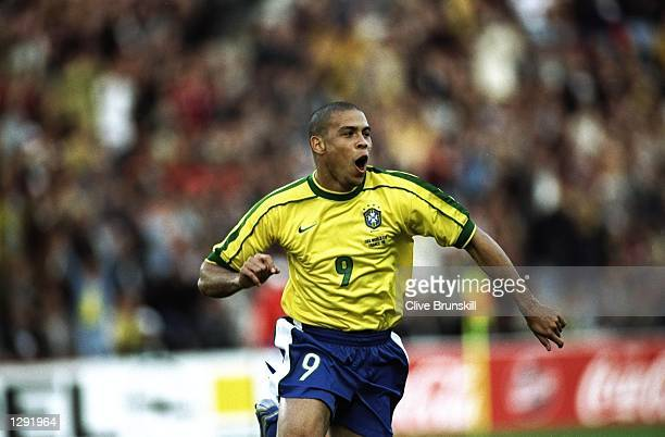 Ronaldo of Brazil celebrates after scoring in the World Cup group A game against Morocco at the Stade de la Beaujoire in Nantes France Brazil won 30...