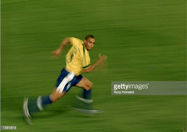 Ronaldo of Brazil charges forward during the World Cup group A game against Morocco at the Stade de la Beaujoire in Nantes France Brazil won 30...