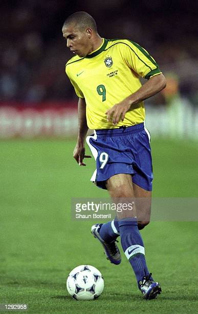 Ronaldo of Brazil on the ball during the World Cup group A game at the Stade de la Beaujoire in Nantes France Ronaldo scored as Brazil won 30...