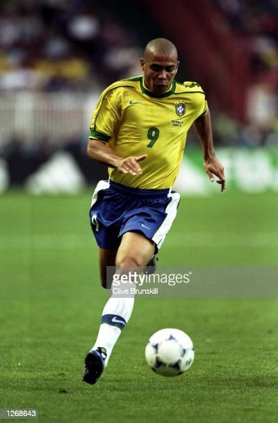 Ronaldo of Brazil on the ball during the World Cup second round match against Chile at the Parc des Princes in Paris. Ronaldo scored twice as Brazil...