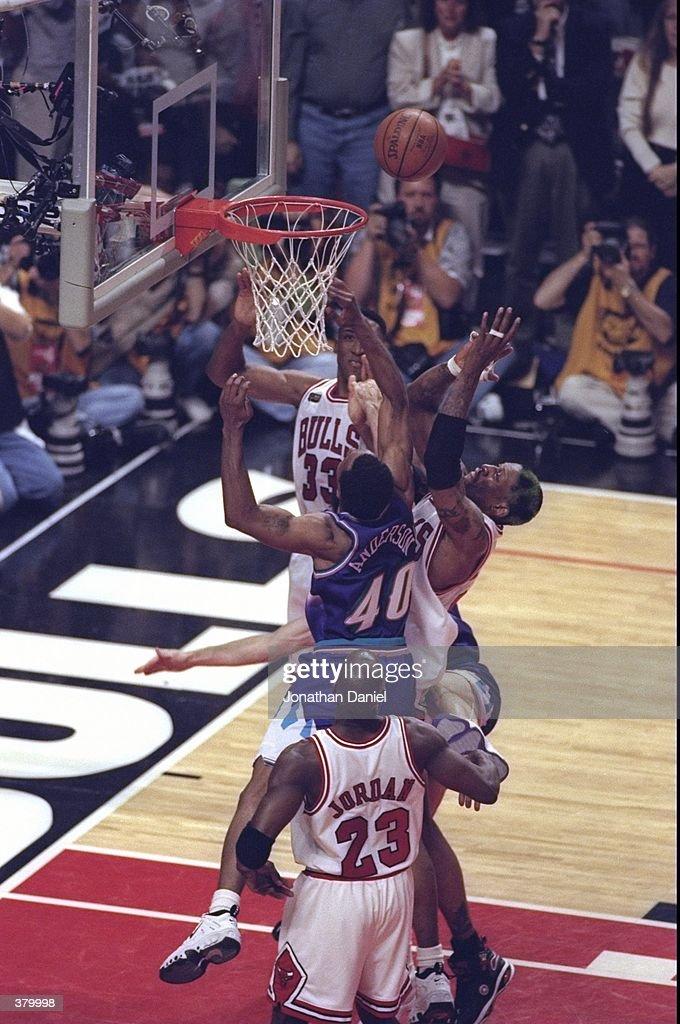 8305deb2bf Scottie Pippen, Dennis Rodman and Michael Jordan of the Chicago ...